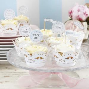 Cupcake Decoration Toppers - Vintage Lace