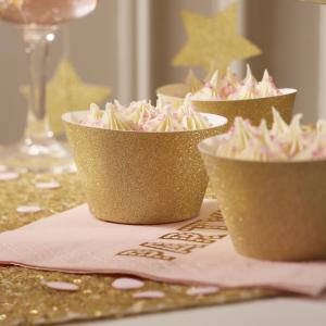 Cupcake Wraps - Gold Glitter - Pastel Perfection