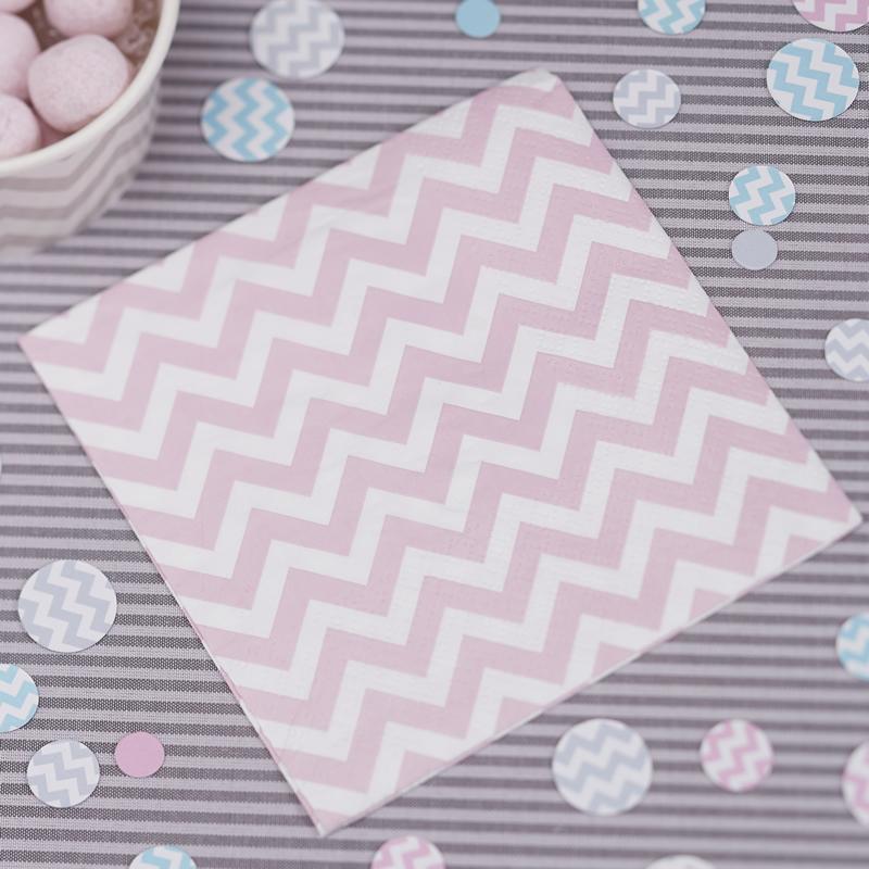 Small Paper Napkins Pink - Chevron Divine