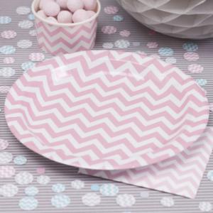Paper Plates Pink - Chevron Divine