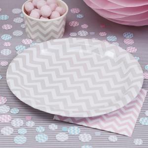 Paper Plates Grey - Chevron Divine