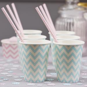 Paper Cups Powder Blue Green - Chevron Divine