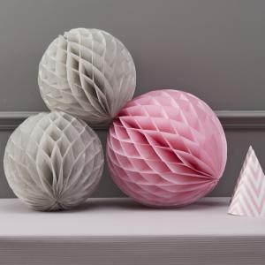 Honeycomb Balls Grey & Pink - Chevron Divine