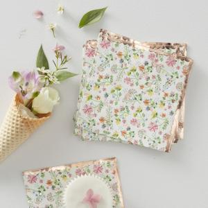 Rose Gold Foiled Floral Paper Napkins - Ditsy Floral