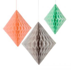 Geo Peach & Mint Diamond Honeycombs