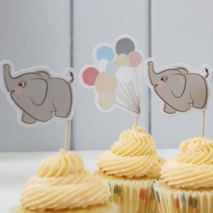 Elephant & Balloons Food/Cupcake Flags - Little One
