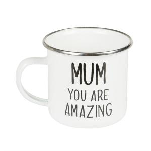 Mum You Are Amazing Enamel Mug - morsdagspresent