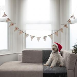 Merry Christmas Hessian Burlap Bunting - Vintage Noel