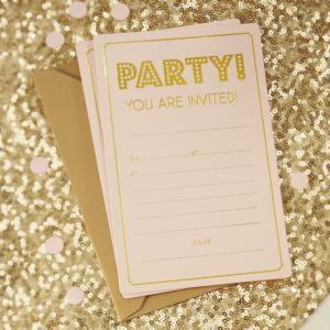 Gold Foiled Party Invitations - Pastel Perfection