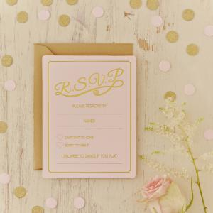 Gold Foiled Wedding RSVP Cards - Pastel Perfection
