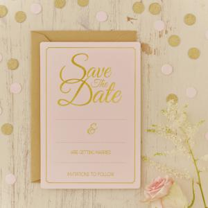 Gold Foiled Wedding Save the Date Cards - Pastel Perfection