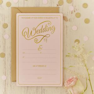 Gold Foiled Wedding Invitations - Pastel Perfection