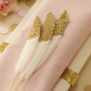 Gold Glitter Dipped Feathers - Pastel Perfection
