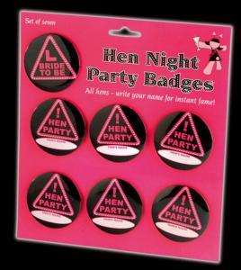 Hen Night Party Badges - namnknappar till möhippan