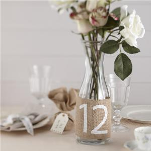 Hessian Burlap Table Numbers 1-12 - Vintage Affair