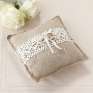 Hessian Ring Cushion - Vintage Affair