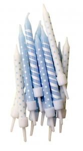 Blue Polka-Dot & Candy Cane Stripe Candles - tårtljus