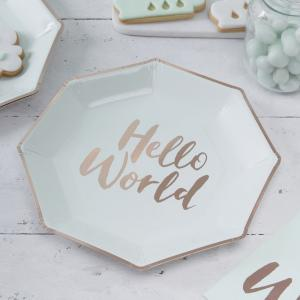 Mint & Rose Gold Paper Plates - Hello World