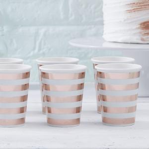 Mint & Rose Gold Paper Cups - Hello World