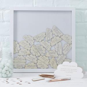 Cloud Drop Top Frame Guest Book - Hello World