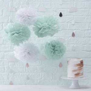 Mint & White Tissue Paper Pom Poms - Hello World