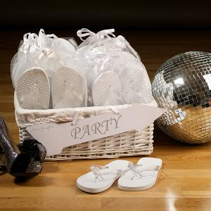 White Wedding Premium Party Pack - Flip Flops i presentpåsar
