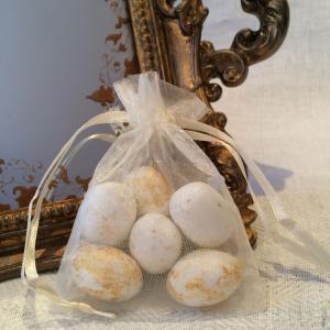 Ivory Organza Gift Bags - elfenbensvita organzapåsar