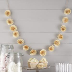 Ivory Paper Flower Garland Decoration - Vintage Affair