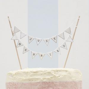 Just Married Cake Bunting Topper White - Vintage Lace