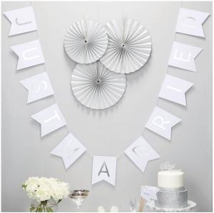Just Married White & Silver Foiled Bunting - Metallic Perfection