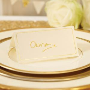 Ivory & Gold Foiled Place Cards - Metallic Perfection