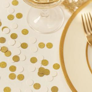 Ivory & Gold Glitter Wedding Confetti - Metallic Perfection