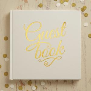 Ivory & Gold Foiled Wedding Guest Book - Metallic Perfection