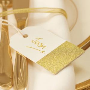 Ivory & Gold Glitter Luggage Tags - Metallic Perfection