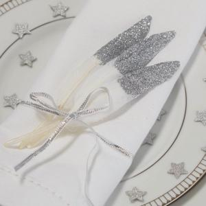 Silver Glitter Dipped Feathers - Metallic Perfection