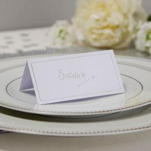 White & Silver Foiled Place Cards - Metallic Perfection