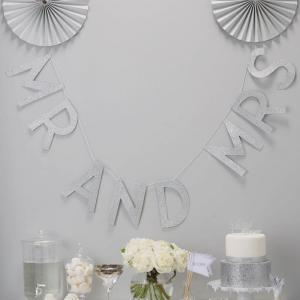 Silver Glitter Mr & Mrs Wedding Bunting - Metallic Perfection