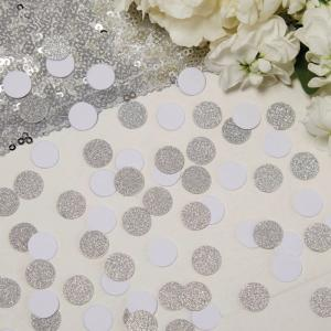 White & Silver Glitter Confetti - Metallic Perfection
