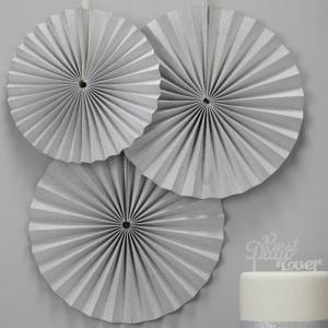 Silver Circle Fan Decorations - Metallic Perfection