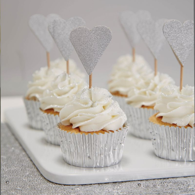 Silver Glitter Heart Cupcake Toppers - Metallic Perfection