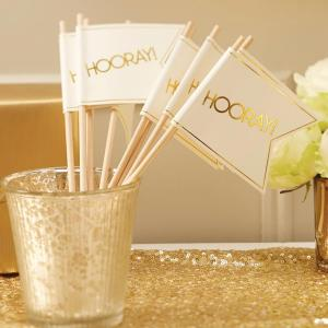 Ivory & Gold Wedding Flags - Metallic Perfection
