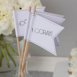White & Silver Foiled Wedding Flags - Metallic Perfection