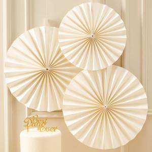 Ivory Circle Fan Decorations - Metallic Perfection