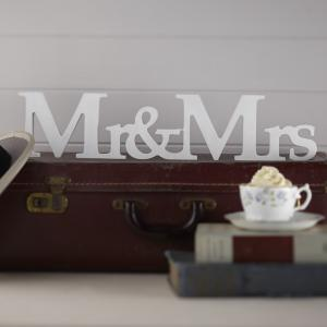 Mr & Mrs Freestanding Wooden Sign - Vintage Affair