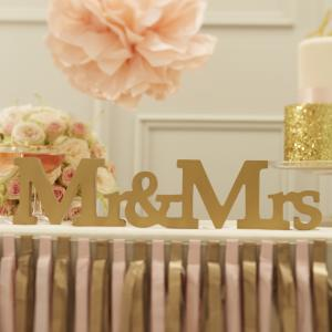 Mr & Mrs Wooden Sign Gold - Pastel Perfection