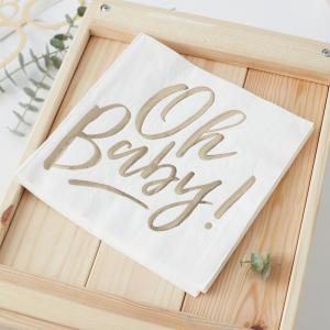 Gold Foiled Oh Baby! Paper Napkins - Oh Baby!