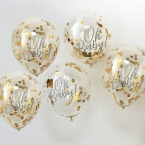 Oh Baby! Printed Gold Confetti Balloons - Oh Baby!