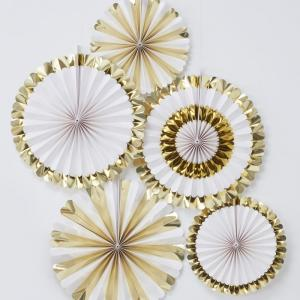 Gold Foiled Fan Decorations - Oh Baby!