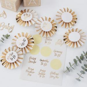Gold Foiled Baby Shower Badge Kit - Oh Baby!