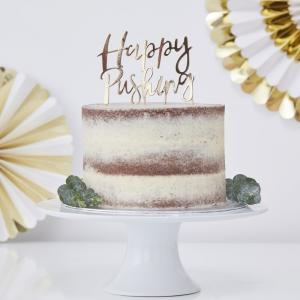 Gold Foiled Happy Pushing Cake Topper - Oh Baby!
